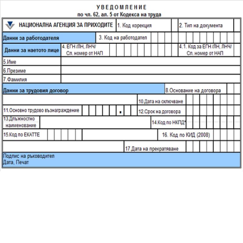 Предстоящи промени в Уведомлението по чл.62 ал.5 КТ- обновена